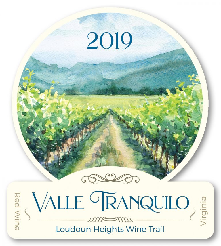 valle tranquilo wine front label